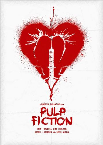 1990's Movie - PULP FICTION - HEART POSTER WHITE canvas print - self adhesive poster - photo print